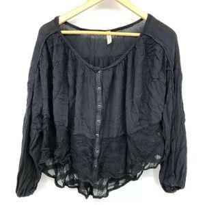 Free People Womens Top Lace Oversized Flowy Button
